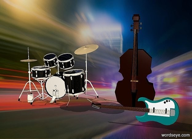 Input text: the guitar is 8 feet tall  the drum kit is 5 feet behind the guitar  the drum kit is 3 feet to the left of the guitar  the drum kit is 20 feet tall  the bass is behind the guitar  the bass is 30 feet tall