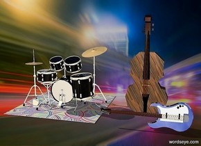 the silver guitar is 8 feet tall. the drum kit is 5 feet behind the guitar. the drum kit is 3 feet to the left of the guitar. the drum kit is 20 feet tall. the [wood] bass is behind the guitar. the bass is 30 feet tall. The [swirl] rug is below the drum kit. The rug is 30 feet wide. The rug is 30 feet deep.