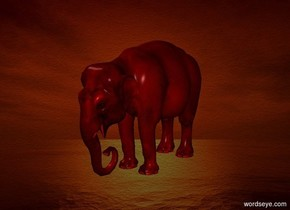 a 100 inch tall red elephant.a [sk] backdrop.