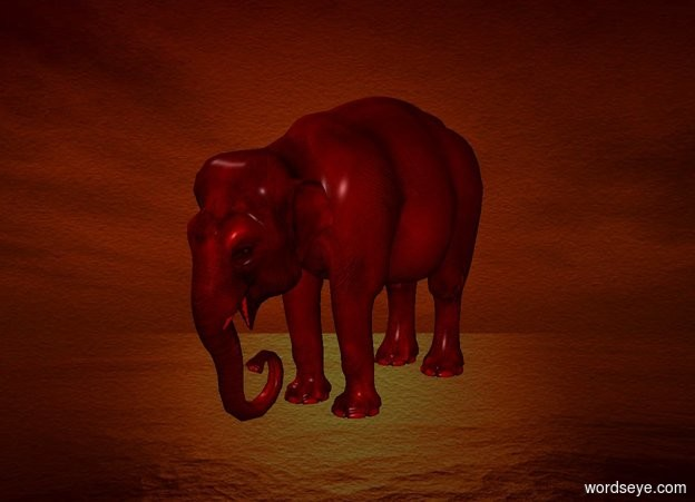 Input text: a 100 inch tall red elephant.a [sk] backdrop.