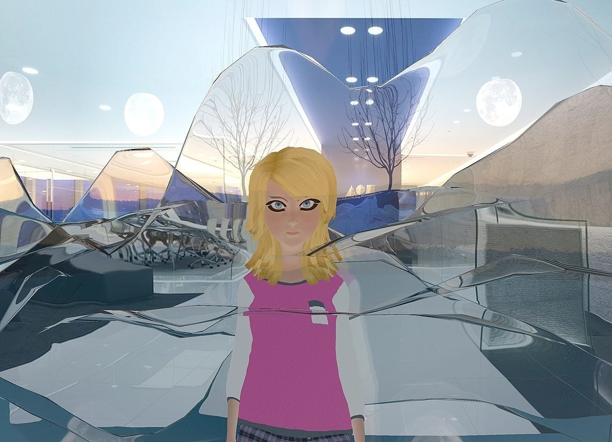 Input text: a  flat shiny backdrop.ground  is visible and clear white.ground is flat.a 1000 inch tall flat woman is on the ground. sky is 2000 feet tall and 1800 feet wide and 2100 feet deep.ambient light is gainsboro.camera light is black.sun is gray.