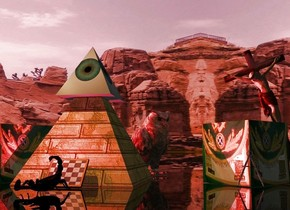 An eye pyramid is in a large brick pyramid. Ground is clear and black. Camera light is black. Sun is scarlet. An amber light is above and left of and in front of the pyramid. An image-15796 cube is 1.5 foot right of the brick pyramid. It is facing southwest. A 20% shiny owl is behind and -1.5 foot right of the brick pyramid. It is facing southeast. A dim crimson light is right of and in front of the cube. 2 dim red lights are behind and above the cube. A tiny 20% shiny crucifix is 1.3 foot right of the brick pyramid. It is leaning right. 4 crimson lights are 2 feet left of the crucifix. A small chessboard is -1 inch in front of the brick pyramid. It is leaning 50 degrees to the front. An image-15796 cube is 1 foot right of the brick pyramid. It is facing southwest. A compass is in front of the cube. A scorpion is in front of the chessboard.