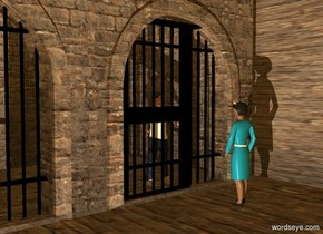 a 1st old gold building. 1st 10 foot tall black door is -3 feet in front of and -12 feet right of the building. a 2nd 10 foot tall black door is 3 feet left of the door. a 2nd 66 foot wide and 30 foot tall and 120 foot deep old gold building is -66 feet left of the building.  ambient light is amber. a man is 1 foot behind the 1st door. a nurse faces back. she is 3 feet in front of the door. camera light is black. a linen light is 10 feet left of and 5 feet in front of the nurse.