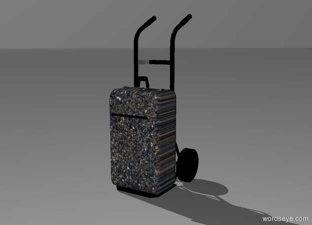Input text: a 3.1 feet tall black hand truck. a  2 feet tall and 1 feet wide and .7 feet deep texture suitcase is -3.1 feet above and -.7 feet in front of the hand truck. the handle of the suitcase is black. a black .7 feet tall and .5 inch wide tube is -8 inch above and .1 inch in front of the suitcase. it leans 90 degrees to the left. backdrop is white
