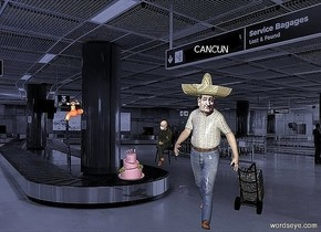 "a suitcase faces back. it leans 28 degrees to the back. a man is -.37 feet left of and -1.8 feet in front of the suitcase. a ted head is -1 feet above and in front of and -2 feet left of the man. backdrop is airport. a 1.6 feet tall cake is 3.9 feet left of and .7 feet behind and -5.8 feet above the man. a 6 inch tall and 2.5 feet long and .1 inch deep black plank is 1 feet above the man. it leans 16 degrees to the right. the 3.3 inch tall ""CANCUN"" is -9.2 inch above and .1 inch in front of the plank. the ""CANCUN"" leans 17 degrees to the right. a  3 feet tall bernie is 4.3 feet left of and 5 feet behind and -6.4 feet above the man. it leans 8 degrees to the back. a [basket]sombrero is -.6 feet above the ted head. it leans 12 degrees to the back. a very large copper faucet is 12 feet left of and -2 feet above and 4 feet behind the man. it faces left. a 6.4 feet long and 6 inch wide clear white eel is -7.7 feet above and .17 feet left of the faucet. it leans 90 degrees to the front. sun is sea blue. a light is 1 inch in front of the faucet. a tiny orange light is on the bernie"