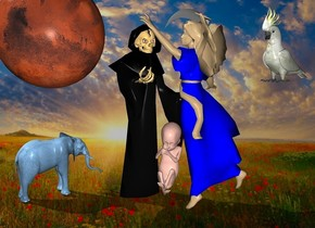 a 120 inch tall   grim  reaper.backdrop is cloud.a 70 inch tall mars is -6 inch left of the grim reaper.the grim reaper is facing southeast.the mars is -48 inch above the grim reaper.a 120 inch tall tan angel is -48 inch right of the grim reaper.the angel is facing the grim reaper.the robe of the angel is  blue.a 40 inch tall   forget me not blue elephant is -8  inch left of the grim reaper.the elephant is facing northeast.a 40 inch tall bird is right of the angel.the bird is -40 inch above the angel.the bird is facing southwest.a 35 inch tall baby is -33 inch right of the grim reaper.the baby is -15 inch in front of the grim reaper.the baby is -95 inch above the grim reaper.