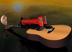 a face up 15 feet tall guitar.a tiny train is -22 inches above the guitar.the train is facing north.a 3 feet tall ear is behind the guitar.the train is leaning 12 degrees to the south.clear ground.