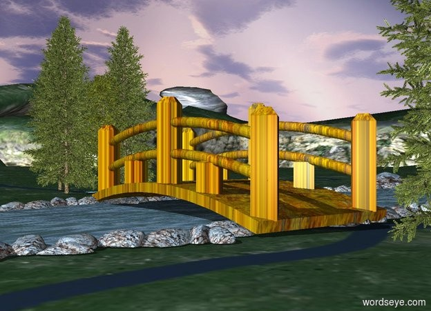 Input text: a 40 feet long wood bridge is on the small river. it faces right. A forest is 10 feet south of the bridge. A forest is 10 feet north of the bridge.