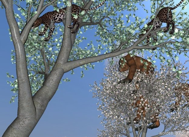 Input text: A leopard is 4.4 yards in a green tree. A leopard is -1.5 feet above and 5 inch left of and 6 inch behind the leopard. It is facing southwest. A leopard is 5.8 feet right of and in front of the leopard.  A orangutan is 4.4 yards in a 2nd apple tree. A orangutan is -1.5 feet above and 5 inch left of and 6 inch behind the orangutan. It is facing southwest. A orangutan is 5.8 feet right of and in front of the orangutan.