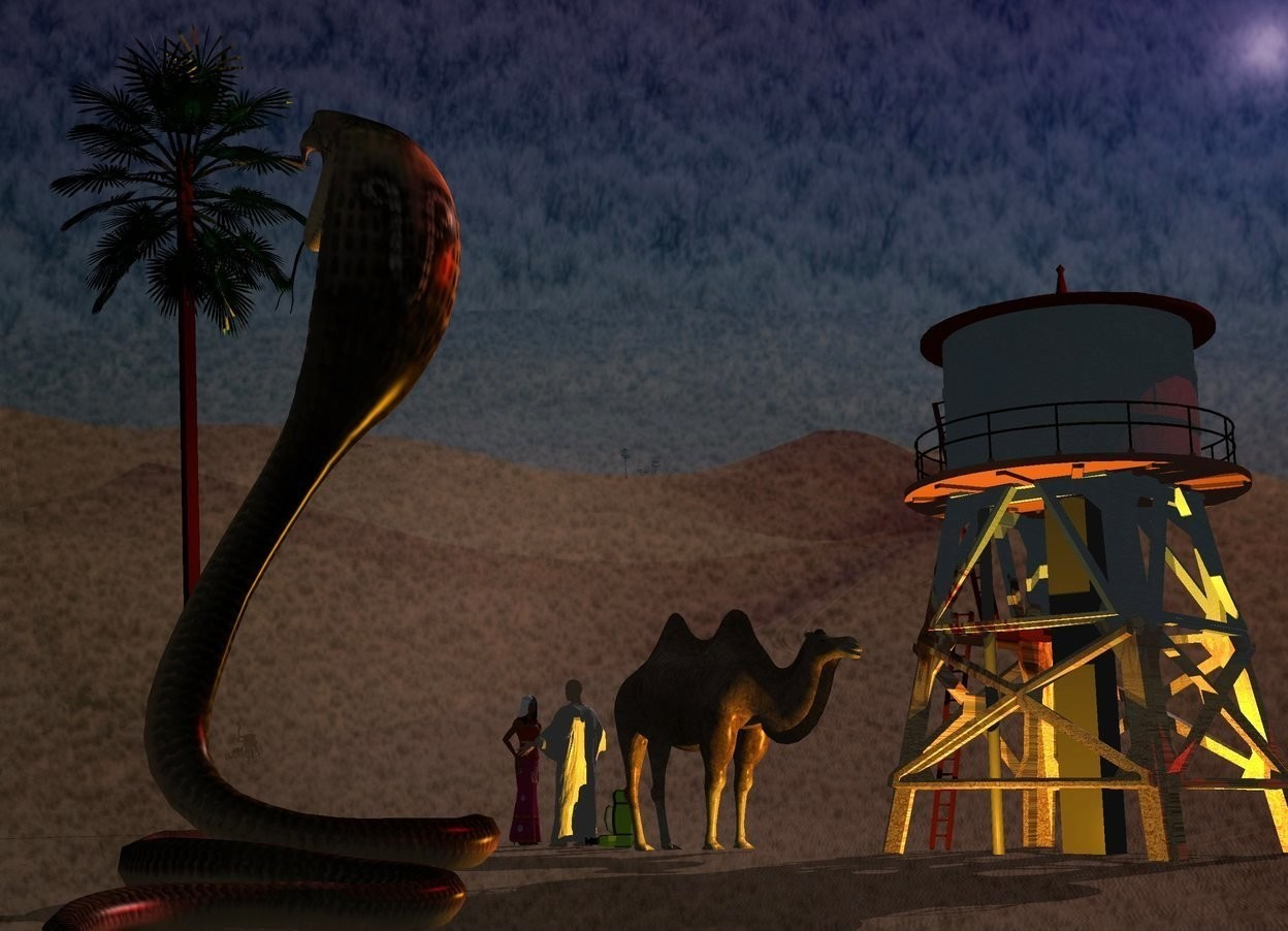Input text: A [caravan] building. Camera light is black. Two orange lights are right of the building. A red light is above and behind the building. A camel is -2 feet in front of and right of the building. It is facing north. Backdrop is 40% dark. Sun is pink. A huge snake is 17 feet right of and behind the camel. Azimuth of the sun is 260 degrees. Altitude of the sun is 30 degrees. Backdrop is 20% shiny. Sky is desert. A man is 2 feet in front of the camel. A palm tree is 20 feet in front of the man. It is leaning 5 degrees to the left. A woman is 1 foot in front of the man. She is facing the man. A bag is behind the man. It is facing southeast.