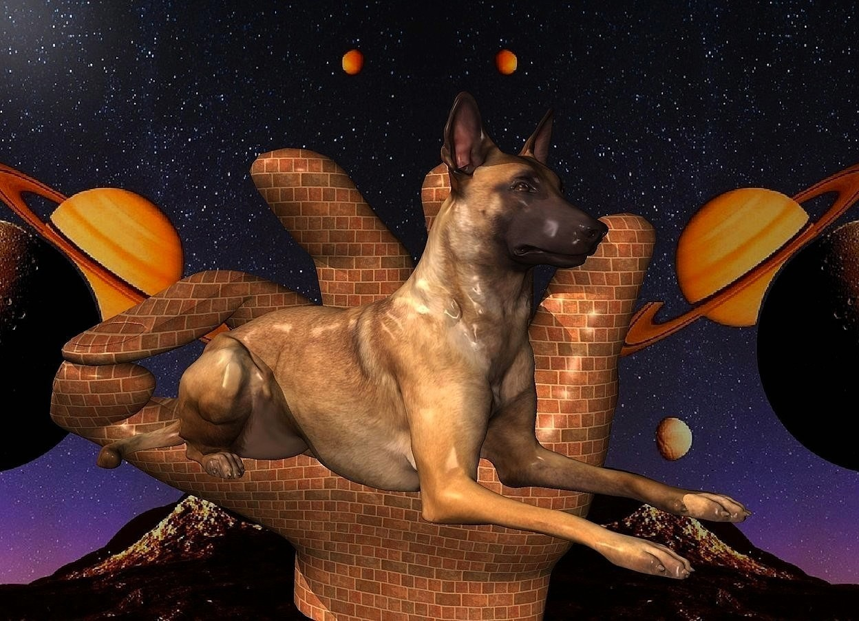 Input text: a 1200 inch tall  and 1400 inch wide and 900 inch deep hand.the hand is 190 inch wide [brick].a [night] backdrop.a 600 inch tall dog is -600 inch above the hand.the dog is facing southeast.the dog is in front of the hand.