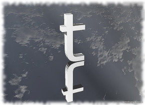 the letter t. the ground is silver.