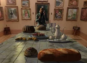A very long 70% dark marble table is in a room. Bread is -0.2 inch above and -5 feet behind the table. A mug is behind and right of the bread. A cake is 1 foot in front of and left of the bread. A glass is 1.2 foot right of the cake. A tea service is 3 feet in front of and -7 inch left of the glass. A tart is 4 inch left of and 2 feet in front of the glass. A croissant is left of and in front of the tart. It is -0.1 inch above the table. A croissant is right of the croissant. It is facing southwest. It is -0.1 inch above the table. A bread is 2 feet in front of and right of the croissant. A bread is left of and behind the bread. A man is  behind the table. Camera light is black. A khaki light is above and 2 feet left of the man.