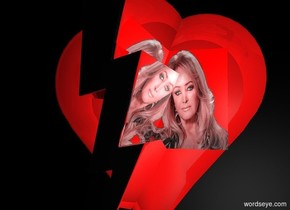 a 100 inch tall and 100 inch wide and 20 inch deep shiny heart.a 100 inch tall and 30 inch wide and 120 inch deep silver  lightning bolt is -50 inch in front of the heart.backdrop is shiny black.a  44 inch tall flat shiny red cube is in front of the heart.sky is black.the cube is 45 inch wide [bt].the cube is -60 inch above and -60 inch right of the heart.