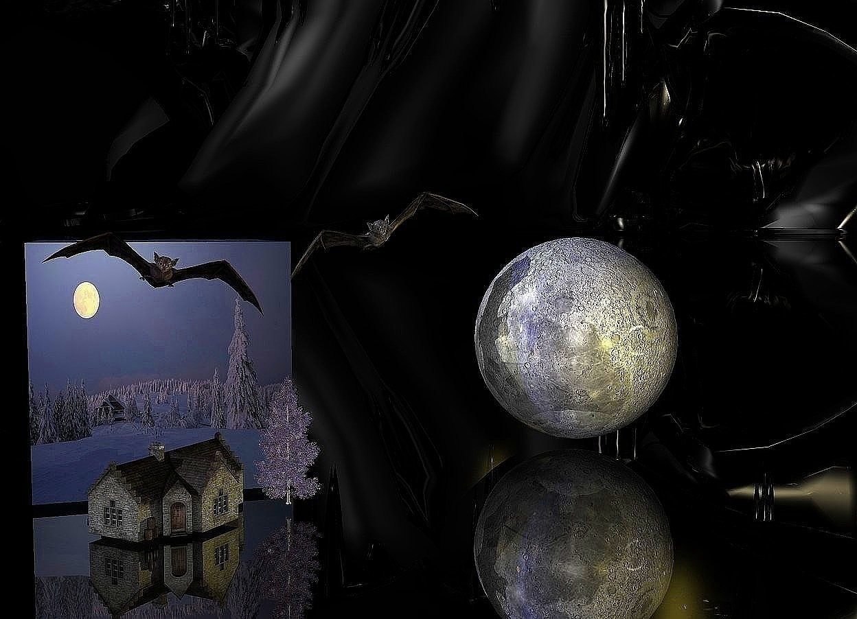 Input text: Evening cube. Shiny black ground. Black sky. A shiny 85% dark moon is 1 foot right of the cube. A lemon light is in front of the moon. A lemon light is behind the moon. A pale bat is left of and -3 inch above the moon. It is leaning right. A 3.5 inch high 80% dark building is in front of the cube. It is -0.1 inch above the ground. A navy light is above the bat. A 2 inch high bat is 5.2 inch above the building. It is leaning 15 degrees to the left. A 6 inch high lavender tree is right of the building. A navy light is left of the building.