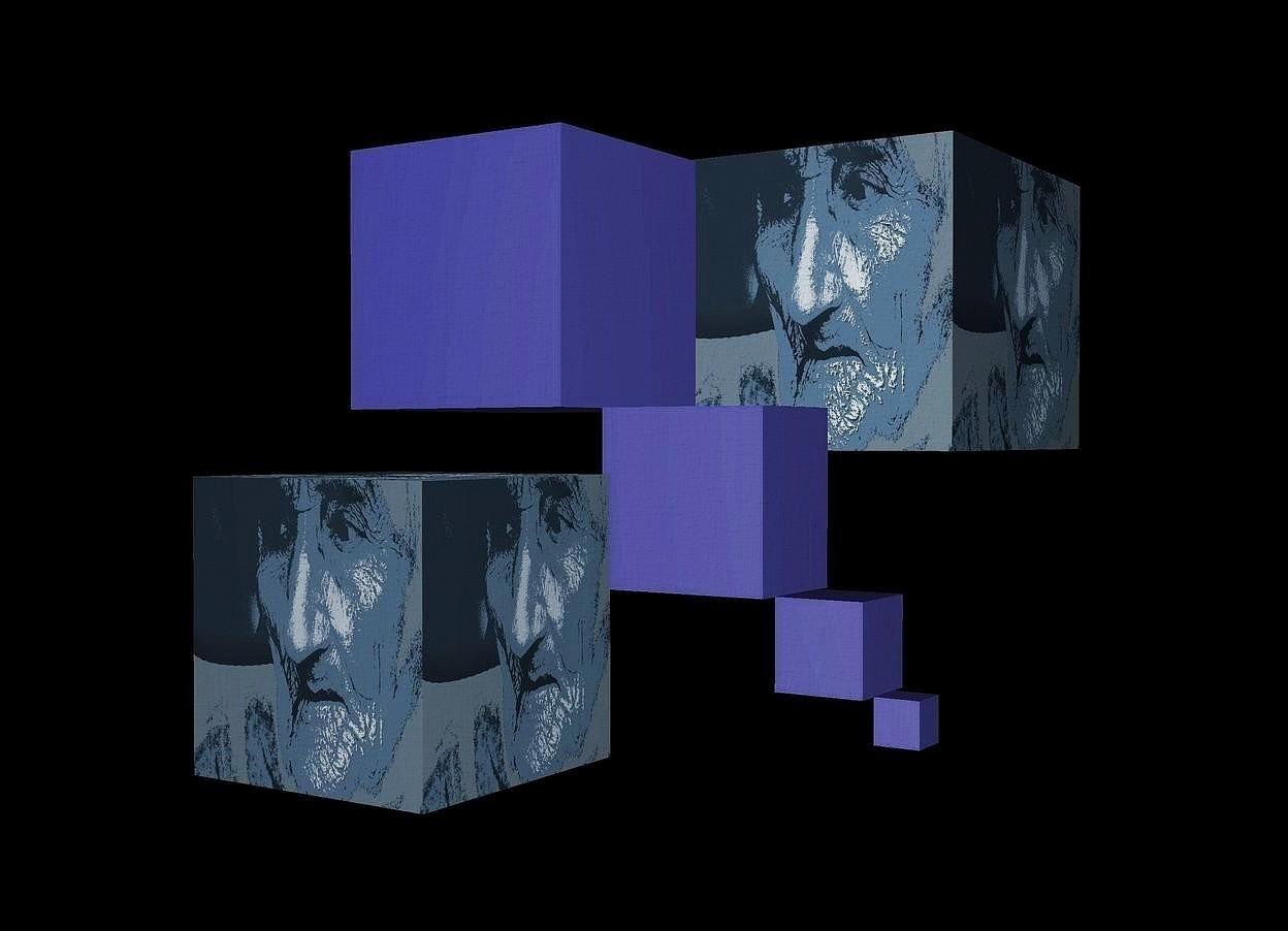 Input text: a black backdrop.a 1st 60 inch tall [ikb191] cube.a 2nd 40 inch tall and 40 inch wide and 30 inch deep [ikb191] cube is right of the 1st cube.the 2nd cube is -100 inch above the 1st cube.a 3rd 20 inch tall and 20 inch wide and 20 inch deep [ikb191] cube is right of the 2nd cube.the 3rd cube is -60 inch above the 2nd cube.a 4th 10 inch tall and 10 inch wide and 10 inch deep [ikb191] cube is right of the 3rd cube.the 4th cube is -30 inch above the 3rd cube.a 5th 40 inch tall and 40 inch wide and 40 inch deep [to] cube is 100 inch in front of the 2nd cube.the 5th cube is -70 inch left of the 2nd cube.the 5th cube is -52 inch above the 2nd cube.a 6th 70 inch tall and 70 inch wide and 90 inch deep [to] cube is -120 inch in front of the 4th cube.the 6th cube is 50 inch above the 4th cube.the 6th cube is -5 inch left of the 4th cube.