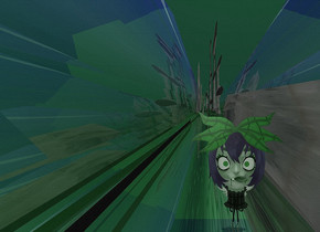 a shiny malachite green backdrop.sky is shiny petrol blue.ground is visible and shiny.ground is 120 feet tall.ground is flat.a 1st 50 inch tall flat malachite green girl head.the 1st girl head is facing east.camera light is gray.ambient light is gray.the ornament of the girl head is malachite green.