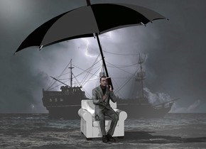 a shiny [storm] backdrop.sky is gray.a 60 inch tall shiny gray chair.ground is invisible.a 100 inch tall man is -60 inch above the chair.the man is -30 inch in front of the chair.a 150 inch tall and 260 inch wide shiny black umbrella is -56 inch above the man.the umbrella leans 15 degrees to right.the umbrella is -175 inch right of the man.