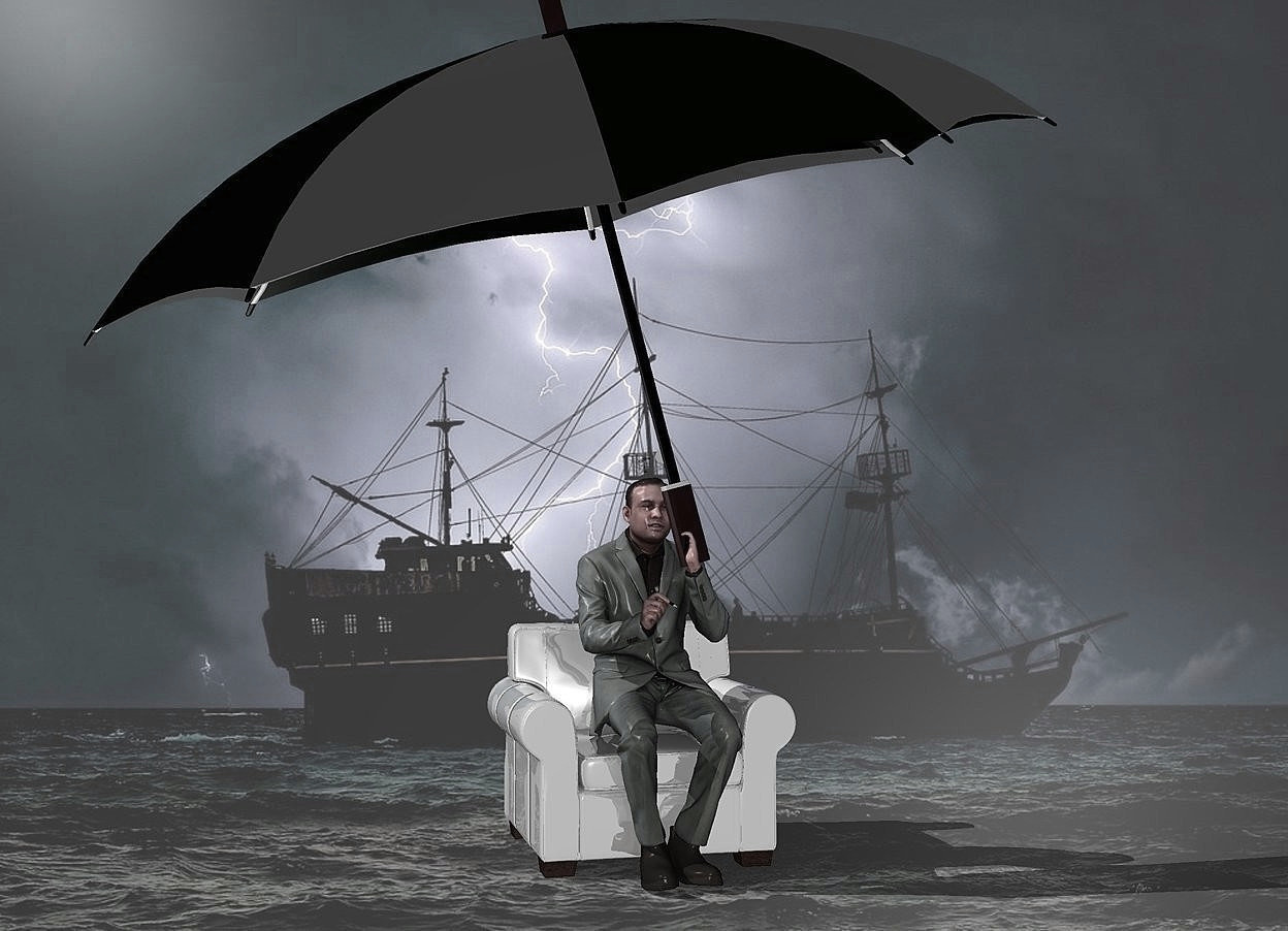 Input text: a shiny [storm] backdrop.sky is gray.a 60 inch tall shiny gray chair.ground is invisible.a 100 inch tall man is -60 inch above the chair.the man is -30 inch in front of the chair.a 150 inch tall and 260 inch wide shiny black umbrella is -56 inch above the man.the umbrella leans 15 degrees to right.the umbrella is -175 inch right of the man.