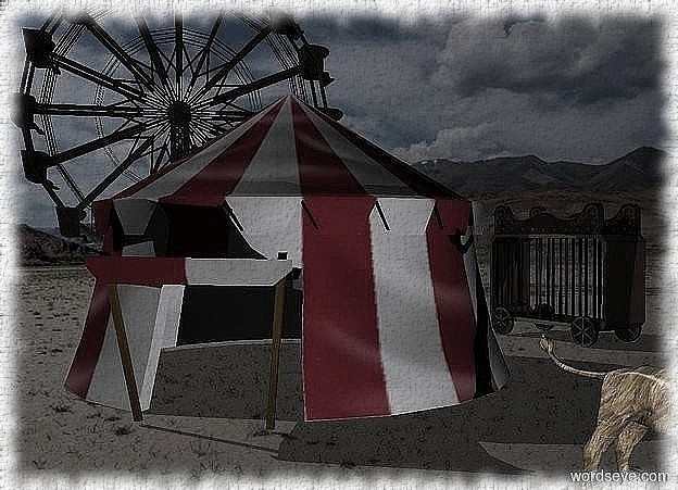 Input text: A circus tent. a dark dull ferris wheel is 50 feet behind and  left of the tent. it faces the tent. a dark dull cage is behind and -2 feet right of the tent. it faces southeast. sun is ghost white. a big [hair] lioness is in front of and right of the tent. it faces southeast. sun is black. camera light is dim. a ghost white light is 5 feet right of and 15 feet in front of the tent. ambient light is dim silver.