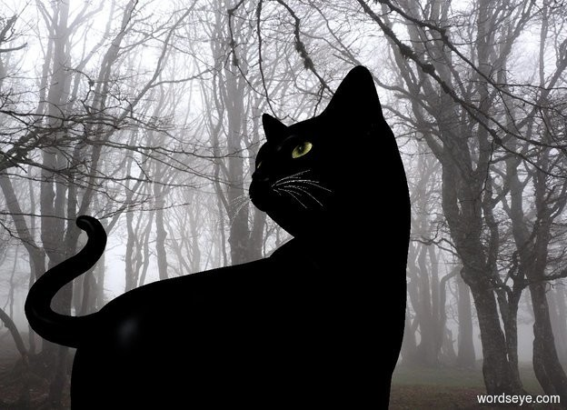 Input text: a black cat is in the fog. camera light is black. sun is blue gray. ambient light is silver.