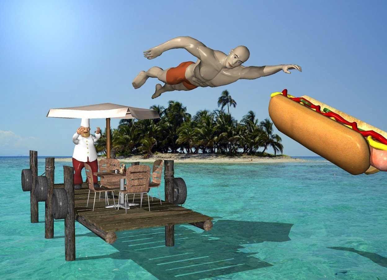 Input text: Ocean backdrop. The pier. The 7 foot tall umbrella is on the pier. The table is -3.5 feet in front of the umbrella. The large swimmer is in front and 4 feet above the table. The chef is behind the umbrella. The very huge hotdog is .5 foot in front of the swimmer. The hotdog is 7 feet above the ground. it is facing right. it is leaning to the right.