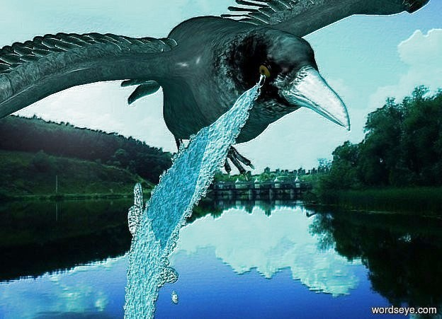 Input text: a raven. backdrop is river. a 3 feet long and .2 feet wide river is -.982 feet left of and -3 feet above and -1.3 feet in front of the raven. it leans 100 degrees to the left. ambient light is aqua