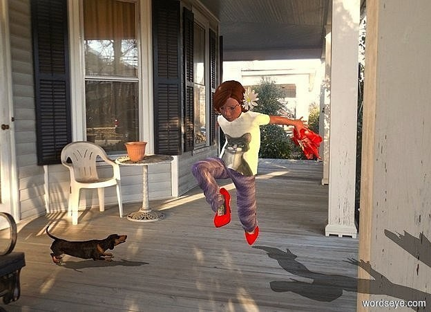 Input text: a girl. porch backdrop. 1st red .58 feet tall shoe is -2.99 feet above and -.7 feet in front of and -1.273 feet left of the girl. it leans to the southeast. 2nd .58 feet tall red shoe is -3.9 feet above and -1.25 feet behind and -1.3 feet left of the girl . it leans 70 degrees to the front. a 2.7 feet tall and .7 feet wide and .7 feet deep [texture] ghost is -.4 feet behind and -2.38 feet above and -.64 feet right of the girl. it leans 70 degrees to the front. a .34 feet tall baby pink blossom is -1.1 feet right of and -.69 feet above and -1 feet in front of the girl. it leans 70 degrees to the left. it faces left. the center of the blossom is yellow. a dim azure light is right of the ghost. a dog is 1 feet left of and -.2 feet in front of and -3.9 feet above the girl. it faces the girl. ambient light is silver birch beige. camera light is 20% dim. a curry yellow light is 3 feet right of and -1 feet above the girl.