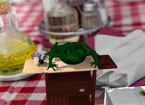 The fork backdrop.   The giant frog is on the table. The giant thimble is left of the frog.  The giant fly is on the table.   His relationship with the frog is unknown.     The 2nd soup is left of the soup .