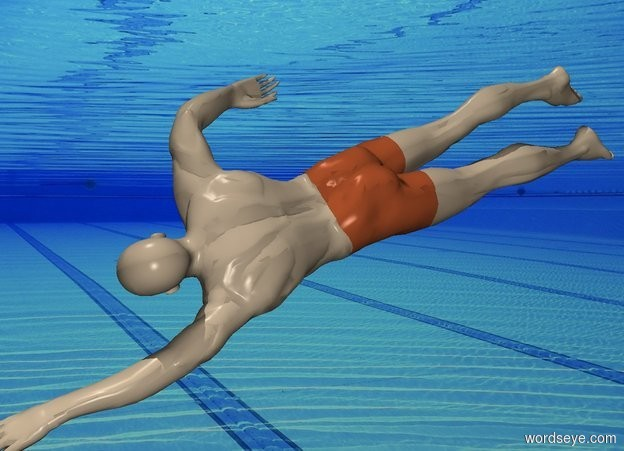 Input text: pool backdrop. The swimmer is 3 feet above the ground.