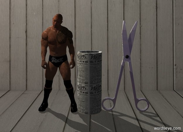 Input text: Dwayne is left of a huge newspaper tube.  Enormous shiny scissors are right of the tube. Azimuth of the sun is 320 degrees. Camera light is black. A cream light is left of and above and in front of Dwayne.
