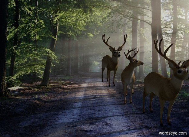 Input text: [country road] backdrop.  Deer faces south. 2nd deer is 1 foot south of him. 3rd deer is 1 foot south of him. Sun's altitude is 20 degrees. Sun's azimuth is 90 degrees. Camera light is black.