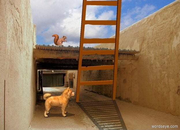 Input text: 100% dark ditch backdrop. A dog is on the ground. A ladder is 0 feet in front of him. It faces west. A squirrel is 1 foot east of and 2.5 foot above the dog.  It is noon.