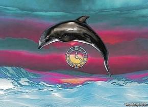 The  [scene]  backdrop. it is noon. sun is linen. a dolphin.