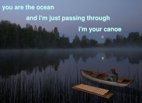 The fog backdrop. The boat is facing left. The big wooden xylophone is 1 inch in front of the boat. The woman is in the boat. The big wooden xylophone is on a big wooden plank. The ground is reflective.