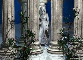 3 good columns. 4 nice columns are 5 feet behind the columns.  a big statue is  behind the good columns. it faces northeast. it is .7 feet in the ground. a 1st  10 foot tall rose is -2 feet behind the nice columns. it is -2 feet left  of the statue. a 2nd 10 foot tall rose is 5 feet right of the rose. it faces back. ground is shiny. sun is dim. camera light is black. a light is 10 feet behind and above the statue. a 60% dim powder blue light is 2 feet above and behind the statue.  sky leans to the back.