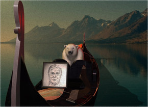 Nature backdrop. A bear is in a boat. It is leaning back. A 1.2 foot high image-15811 photo is 5 feet in front of and -2.4 feet above the bear. It is leaning back. Camera light is brown. A light is in front of and above the boat. A red light is right of and above the boat. Sun is amber.