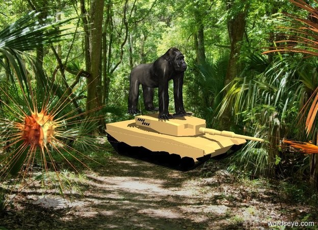 Input text: [Florida] backdrop. The gorilla is on a tank. A bullet is -1 feet in front of the tank and -2.3 feet above it. It faces north.  A large explosion is -4 feet in front of it. A large explosion is 5 feet west of the tank. It is noon.