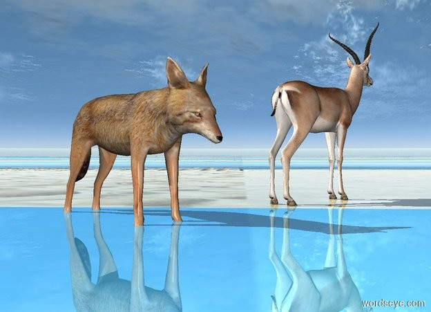 Input text: Ground is 100 foot wide shiny 100% dark [sand]. The gazelle faces northeast. A jackal is 0 feet west of him and 0 feet south of him. He is -.2 feet above the ground.. He faces southeast. Sun's azimuth is -90 degrees.