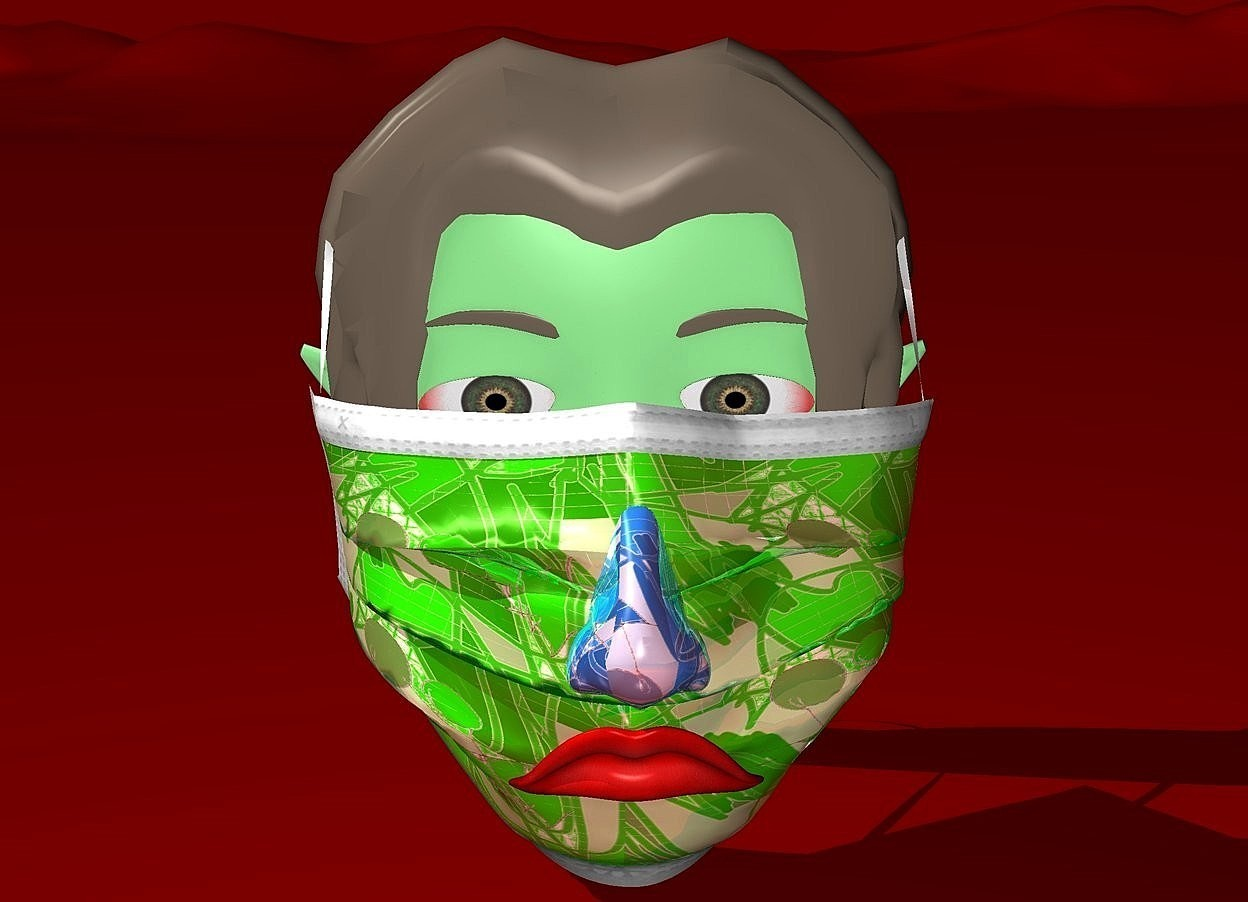 Input text: Sky is maroon.ground is maroon.a  75 inch tall shiny green mask.the mask is 60 inch wide [bp1].a 20 inch tall shiny   petrol blue nose is -1 inch in front of the mask.the nose is -40 inch above the mask.the nose is [bp1].a 10 inch tall  mouth is -30 inch above the nose.a 90 inch tall and 90 inch wide green head is -20 inch behind the mask.the head is -65 inch above the mask.