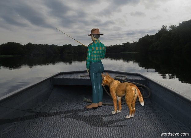 Input text: [boat] backdrop. A fisherman is on the ground. A dog is behind him.