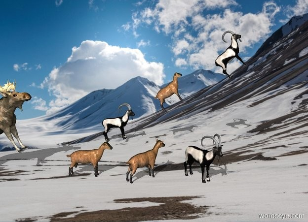 Input text: mountain backdrop. 1st goat leans 10 degrees to the back. 2nd goat is 1 foot in front of him and -1 foot above him. He leans 30 degrees to the back. 3rd goat is 1 foot in front of him and -1 foot above him. He leans 45 degrees to the back.  4th goat is 10 feet west of 1st goat. 5th goat is 1 foot in front of him. He faces southeast. 6th goat is 1 foot in front of him. He faces southwest. A deer is 1 foot behind 4th goat. He leans 30 degrees to the back.