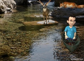 [forest] backdrop. A boy is -1 feet above a small kayak. A fox is 3 feet above it. He faces west. A deer is 2.5 foot left of the boat and 5 feet behind it.