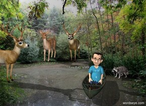 [river] backdrop. A boy is -1 feet above a small kayak. A deer is 2.5 foot left of the boat and 5 feet behind it. 2nd deer is 2 feet left of the deer. 3rd deer is 7 feet in front of her. He faces east. A raccoon is 0 feet right of the boat and 0 feet behind it. He faces southwest.