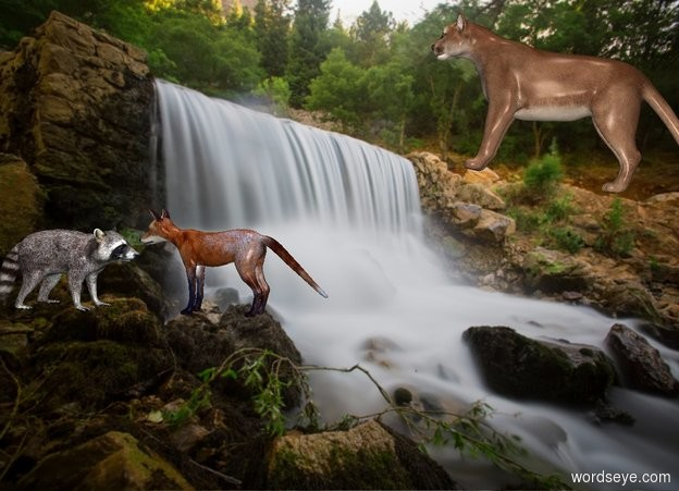 Input text: [river] backdrop. A fox is 5 feet above the ground. He faces west. A cougar is 1.2  feet right of him and 0 feet above him. He faces west. He leans 10 degrees to the back. A raccoon is 0 foot left of the fox. He faces east. It is noon.