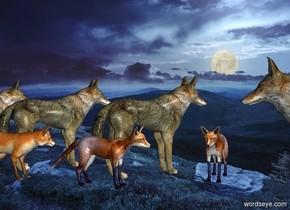 night backdrop. 1st wolf faces southwest.  2nd wolf is east of 1st wolf. He faces southwest.  3rd wolf is east of 2nd wolf. He faces southwest.  1st fox is west of 1st wolf. He faces north.  2nd fox is north of 2nd wolf. He faces west. 3rd fox is west of him. He faces west. 4th wolf is 2.1 feet west of him. He faces east.
