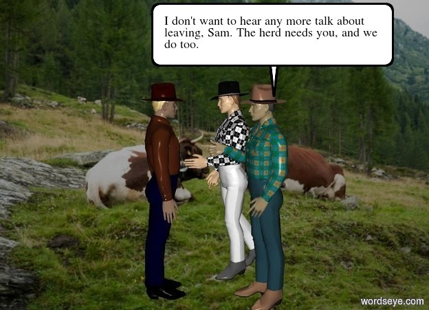 Input text: 2 cowboys. a third cowboy is in front of them. he faces back. backdrop is ranch.