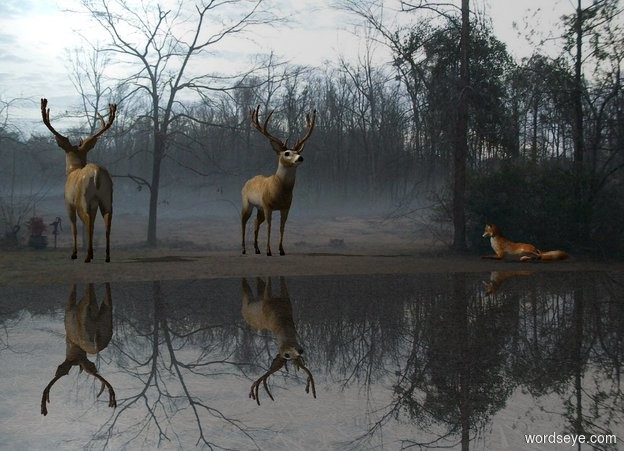 Input text: the [fog] backdrop. a deer is 0 feet above the ground. he faces north. A deer is 5 foot east of him. A small 1 inch tall 20% dark shiny [grass] lake is 10 feet north of him. A fox is 10 feet west of him and 5 feet north of him. He faces southeast.  Camera light is black. Sun's altitude is 135 degrees.