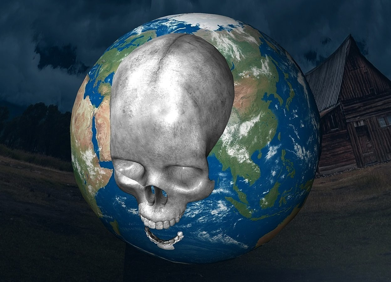 Input text: backdrop is shiny petrol blue.a 50 inch tall earth.a 35 inch tall gray skull is -35 inch above the earth.the skull is -22 inch in front of the earth.sky is fantasy.