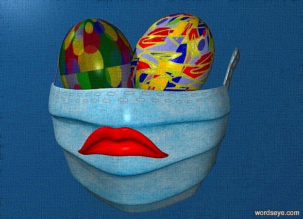 backdrop is fjord blue.a 100 inch tall  	sky blue mask.a 1st 50 inch tall [cc] egg is -50 inch above the mask.the 1st egg leans 100 degrees to right.a 2nd 50 inch tall [bp1] egg is -20 inch right of the 1st egg.the 2nd egg leans 60 degrees to right.the 1st egg is -70 inch left of the mask.sky is gray.a 18 inch tall mouth is -55 inch above the mask.the mouth is -8 inch in front of the mask.